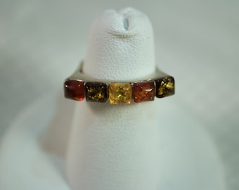 Multi Color Amber Sterling Ring