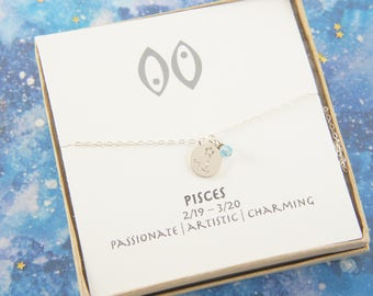 silver zodiac Pisces necklace, birthday gift, custom personalized, gift for women girl, minimalist, simple necklace, layered