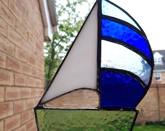 Stained glass sailing boat suncatcher Fathers Day Gift for Dad Water sport Retirement gift Sun catcher
