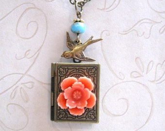 Book Locket Necklace -  orange flower - bird charm