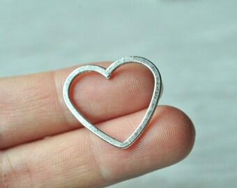 15pcs Antique Silver Love Heart Charm Pendant 23x25mm PP282
