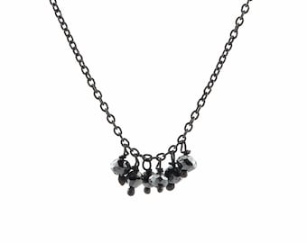 Faceted Black Diamond Bead Fringe Necklace in Oxidized Sterling Silver with Six Diamonds