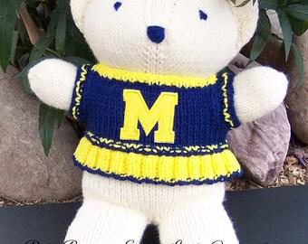 Bear, Michigan Wolverines, Cheerleader Bear, Baby Girl Bear, Shower Gift, Birthday Gift, Keepsake Bear, Valentine's Day