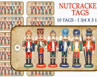 Nutcrackers Gift Tags, Holiday Gift Tags, Christmas Gift Tags, festive decor, craft supplies, digital collage, Holiday tags, red green tags