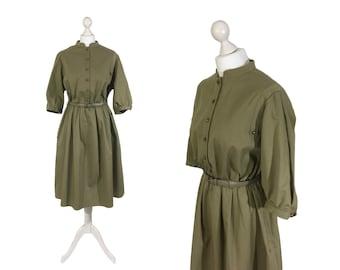 Military Style Dress   Vintage 1980's Olive Green / Khaki Dress   UK Size 16