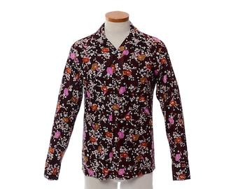 Vintage 70s California Male Floral Disco Shirt 1970s Flowers Graphic Pimp Dance Party Shirt / Mens S