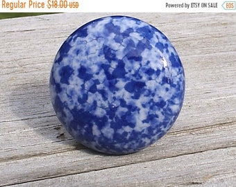 On Sale Set Of 6, Speckled, Ceramic, Cabinet Knob, Drawer Pull blue, white, Enamelware, Granite ware, furniture knobs, Country Cottage