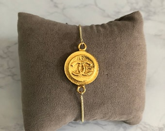Repurposed Pendant Gold Slider Bracelet