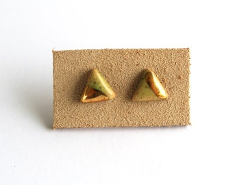 Triangle Stud Earrings Dipped in Gold, Ceramic Jewelry, Handmade Jewelry