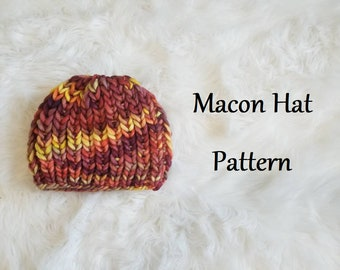 Macon Hat Pattern - Super Chunky Adult Knit Hat Knitting Pattern