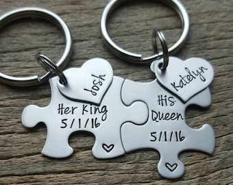 Customizable Puzzle Piece Key Chain Set His and Hers Her King His Queen Set with Name Heart Gift For Him