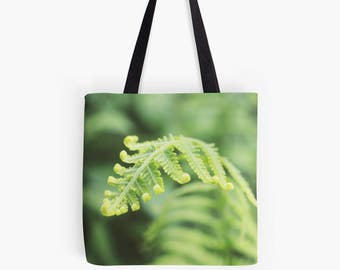 Fern Fine Art Photo Canvas Tote Bag, Book Bag, Market Bag, Farmers Market Bag, Fall Tote Bag, Spring Tote, Reusable Grocery Bag