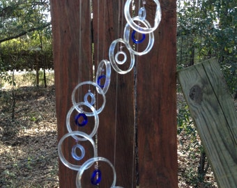 clear blue, lt blue GLASS WINDCHIMES from RECYCLED bottles, garden decor, wind chimes, mobiles, musical, windchimes