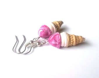 Raspberry Ice Cream Earrings ( polymer clay ice cream cone funny earrings miniature food gift for girl dessert food double scoop cute pink )