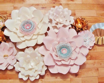 Paper Flowers - Set of 9 | Baby Room Decor | Baby Nursery | Flower Wall | Paper Flower Backdrop | Home Decor | Wall Flowers | Wedding Decor