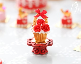 """MTO-Valentines """"Showstopper"""" Cupcake - Bouquet of  Red Roses - Miniature Food in 12th Scale for Dollhouse"""