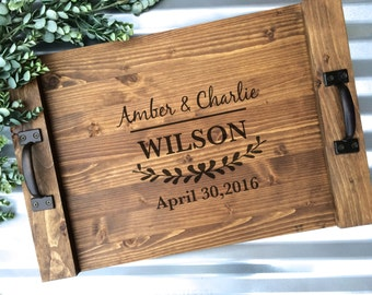 Personalized Serving Tray, Custom Laurel Serving Tray, Wood Tray, Rustic Wedding Gift, Anniversary Gift