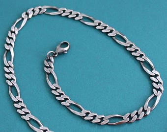 Men's Large Figaro Chain, Sterling Silver