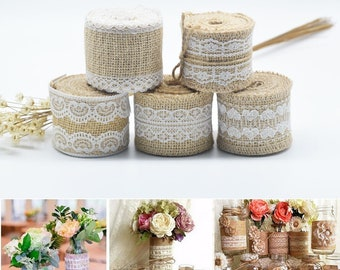 2M Jute Burlap Roll White Lace Trim Table Runner Bands Rusticity Natural Home Decor DIY Arts Crafts Wide 5cm
