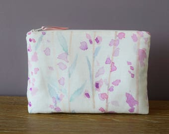 Heather Lined Make Up Bag | Watercolour Moorland Heather Print | Pink, Teal & Purple | Cotton/Linen Fabric| Waterproof Lining | Cosmetic Bag
