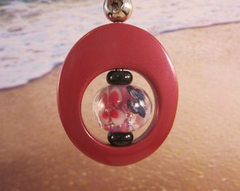 Key Ring, Dark Red Enameled Metal, Beaded, Artisan Lampwork Glass, Hand Crafted, Unique, Custom, Sturdy, Unique, OOAK, SRAJD, KC-19