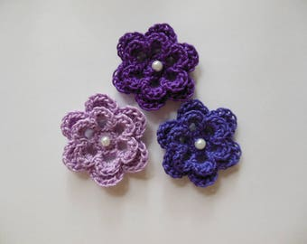 Purple Crocheted Flowers - Purple, Violet and Lilac with Pearl - Cotton Flowers - Flower Appliques - Crocheted Embellishments - Set of 3