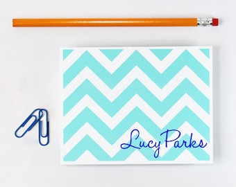 Custom Stationary Turquoise Teal Chevron Personalized Stationery Colorful Bright Blue Chevron Note Cards Bridesmaid Gift - Set of 10