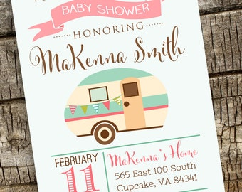 Camper Baby Shower Invitation, Camping Baby Shower Invitation, Digital File 5x7 or 4x6, Baby Shower Invitation