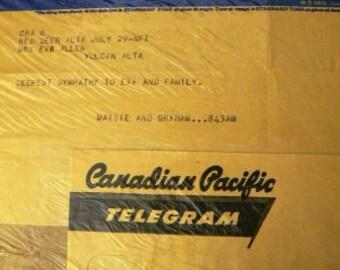 vintage ephemera  ... CANADIAN PACIFIC TELEGHRAPHS telegram 1956 ephemera no 3  ...