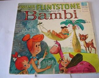 Wilma Flintstone Tells The Story Of Bambi Vintage Record, Flintstones, LP, Bambi, Disney
