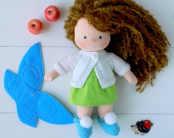 Waldorf Fairy doll with wings and knitted clothes 10 inch