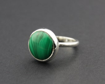 Malachite Ring, Sterling Silver