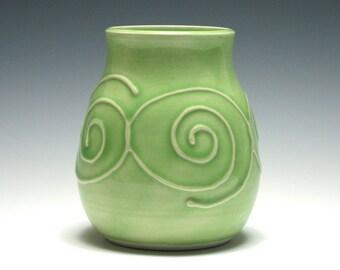 Light Green Vase, Small Ceramic Vase, Spiral Vase, Handmade Pottery, Home Decor