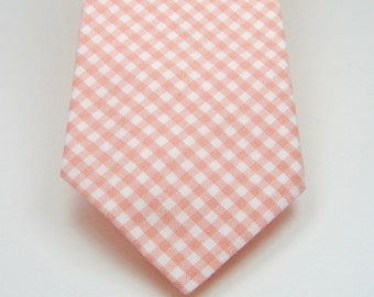 Peach Gingham Necktie Peach Necktie Mens Neckties Wedding Neckties Groomsmen Neckties