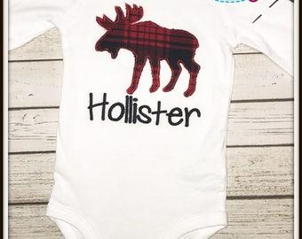 Personalized Moose Shirt--Moose Shirt--Boys Moose Shirt--Buffalo Plaid Shirt--Buffalo Plaid Moose--Monogrammed