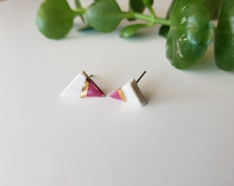 tiny triangle porcelain studs with rose and gold accents, porcelain earrings