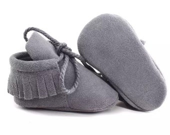 Suede Baby Moccs, Peter Pan Moccasins, Laces, Grey