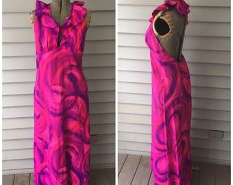 70's Vintage Halter Maxi Dress, Medium
