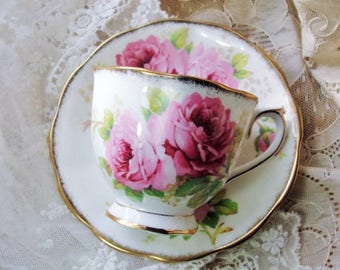 LOVELY Vintage Tea Cup and Saucer AMERICAN BEAUTY Royal Albert English Bone China Bridal Luncheons Showers,Hostess Gift,Weddings,Tea Parties