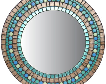 Round Copper Mirror | Mosaic Mirror | Wall Mirror | Affinity Collection | Opus Mosaic Mirrors | Copper, Sea Green, Blue, Light Green