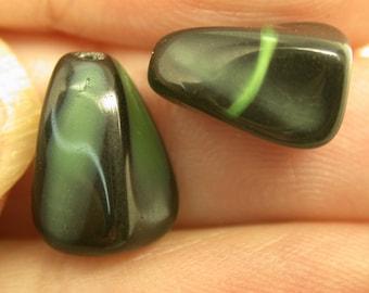 VINTAGE GERMAN Pressed GLASS Beads Black Green Triangular 12x6mm pkg 2 gl224