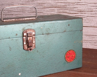Ward - vintage tackle box, tool box, storage box, industrial metal chest, nautical fishing decor, industrial decor