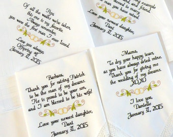 Wedding Gifts for Mom and Dad and Future fiance Parents, Inlaws, Embroidered Wedding Handkerchiefs, Gift for Mom, Gift for Dad, Future Inlaw