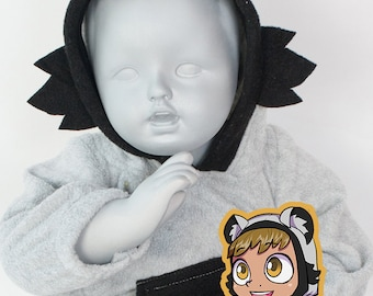 BABY & TODDLER Raccoon Hoodie, 3 Month to 18 Month, Costume, Vest, Jacket, Hand-made, Cosplay