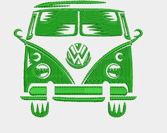 VW Volkswagen Bus Van Embroidery Design - Instant Download Filled Stitches Embroidery Design 880