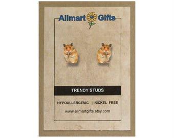 Hamster Stud Earrings - Hamster Earrings - Hamster Jewelry - Hamster Jewelry Stud Earring - best friend gift - birthday gift -handmade gift