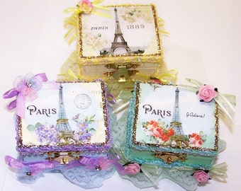 Ring Box, Decorated Box, Pastel, Petite, Wedding, Gift Wrap, Gifts for Her, Roses, French, Eiffle Tower, Paris, Marie Antionette, Flowers,