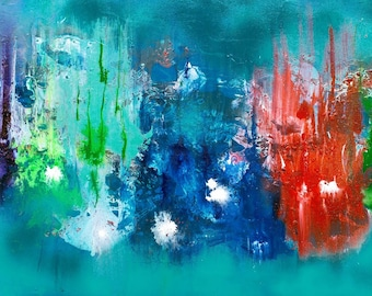 Rainbow lights, Large Abstract Painting, Acrylic Painting on Canvas. Wall Art, Original Modern red blue green art, canvas One of a kind art