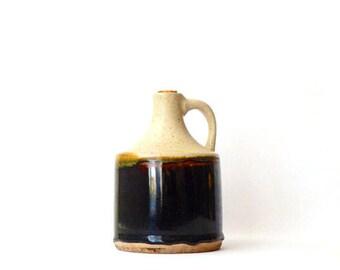 Vintage Pottery Jug Mid Century Listed Artist Signed Brown Black Mid Century Dripware Stanley Zielinski Slipware Glaze Pottery FREE SHIPPING