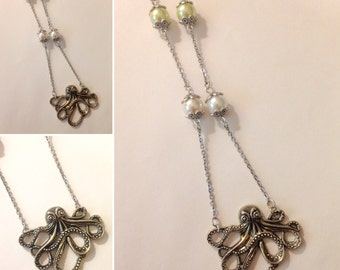 Long Octopus Necklace With Pearl Finish Beads Handmade